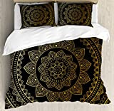 Ambesonne Mandala Duvet Cover Set Queen Size by, Eastern Tribe Themed Circular Flower Ornamental Meditation Symbol, Decorative 3 Piece Bedding Set with 2 Pillow Shams, Dark Pine Green and Mustard