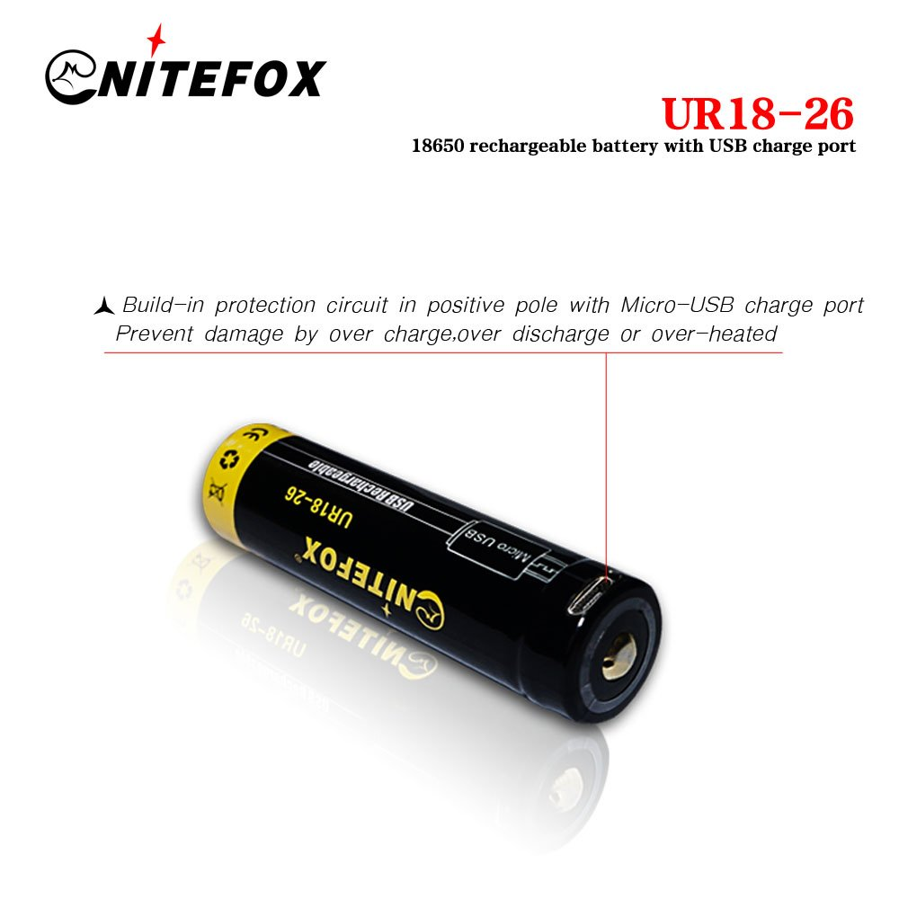 18650 Battery With Direct Usb Rechargeable Port Built In Protection Circuit Charging Protected Circuit2600 Mah 37 Volt Cell For High Power Flashlight