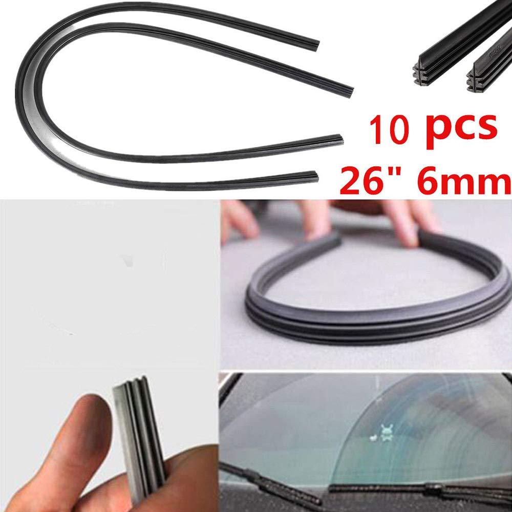 Merssavo 10Pcs 28 Inch Car Wiper Blade Rubber Strip,Universal Frameless Windshield Wiper Refill Blades
