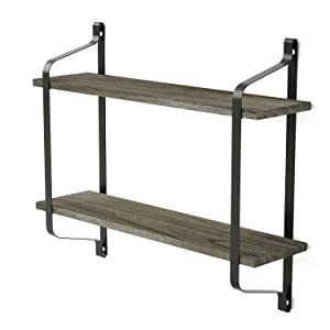 Love-KANKEI Floating Shelves Wall Mounted Industrial Wood Wall Shelves for Pantry Living Room Bedroom Kitchen Entryway, 2 Tier Heavy Duty Book Shelf Weathered Grey