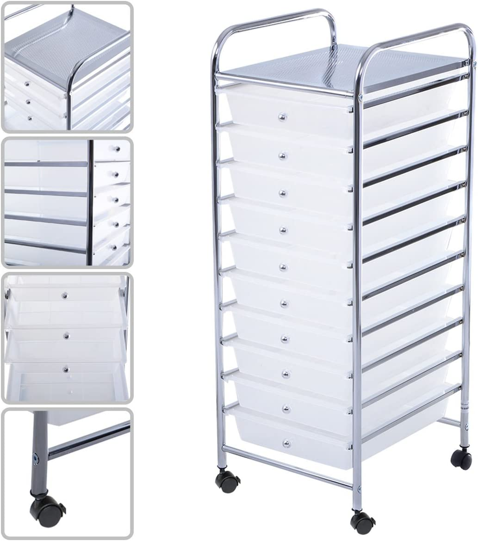 10 Drawer Rolling Storage Cart Steel Frame Paper Office School Organizer Clear