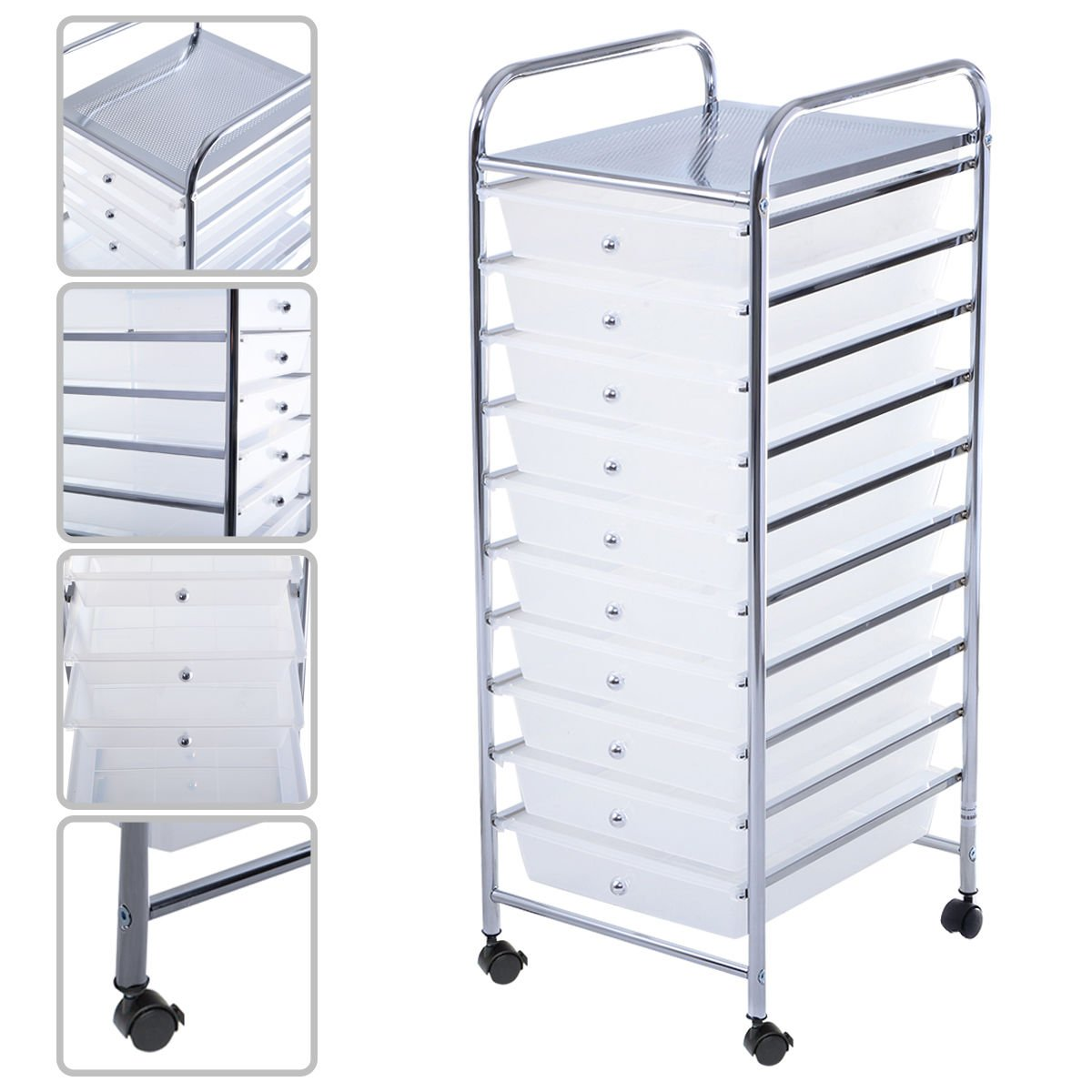 10 Drawer Rolling Storage Cart Scrapbook Paper Office School Organizer Clear by Zavrotsky