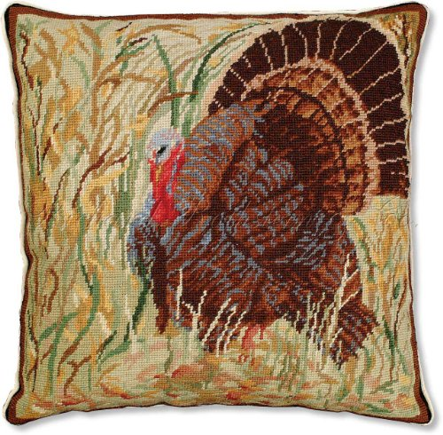 Handmade 100% Wool Needlepoint Autumn Fall American Wild Turkey Hunt Audubon Thanksgiving Decorative Throw Pillow. 18