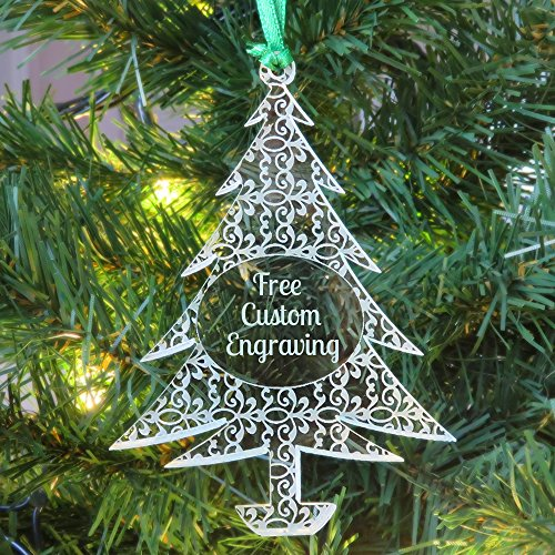 Personalized Christmas Tree Lace Pattern Ornament - Stylish Clear Acrylic Merry Christmas Tags with Free Engraving & Loop by Custom Engraved USA (Lace Tree)