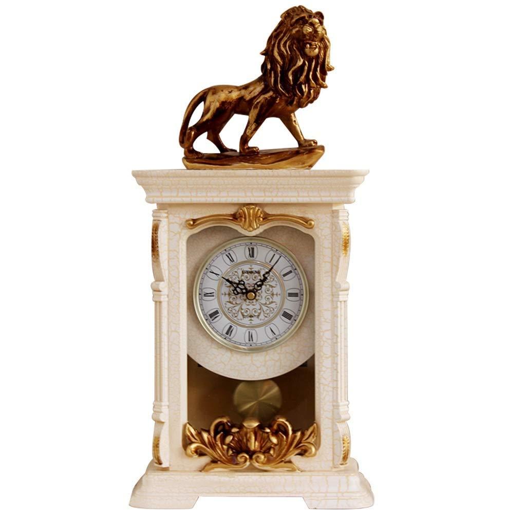 デスククロックファミリークロックライオンの置時計、レトロミュート装飾ベッドルームベッドサイドデコレーションリビングルームの寝室に適していますオフィス(色:B) B07THQQY9V B