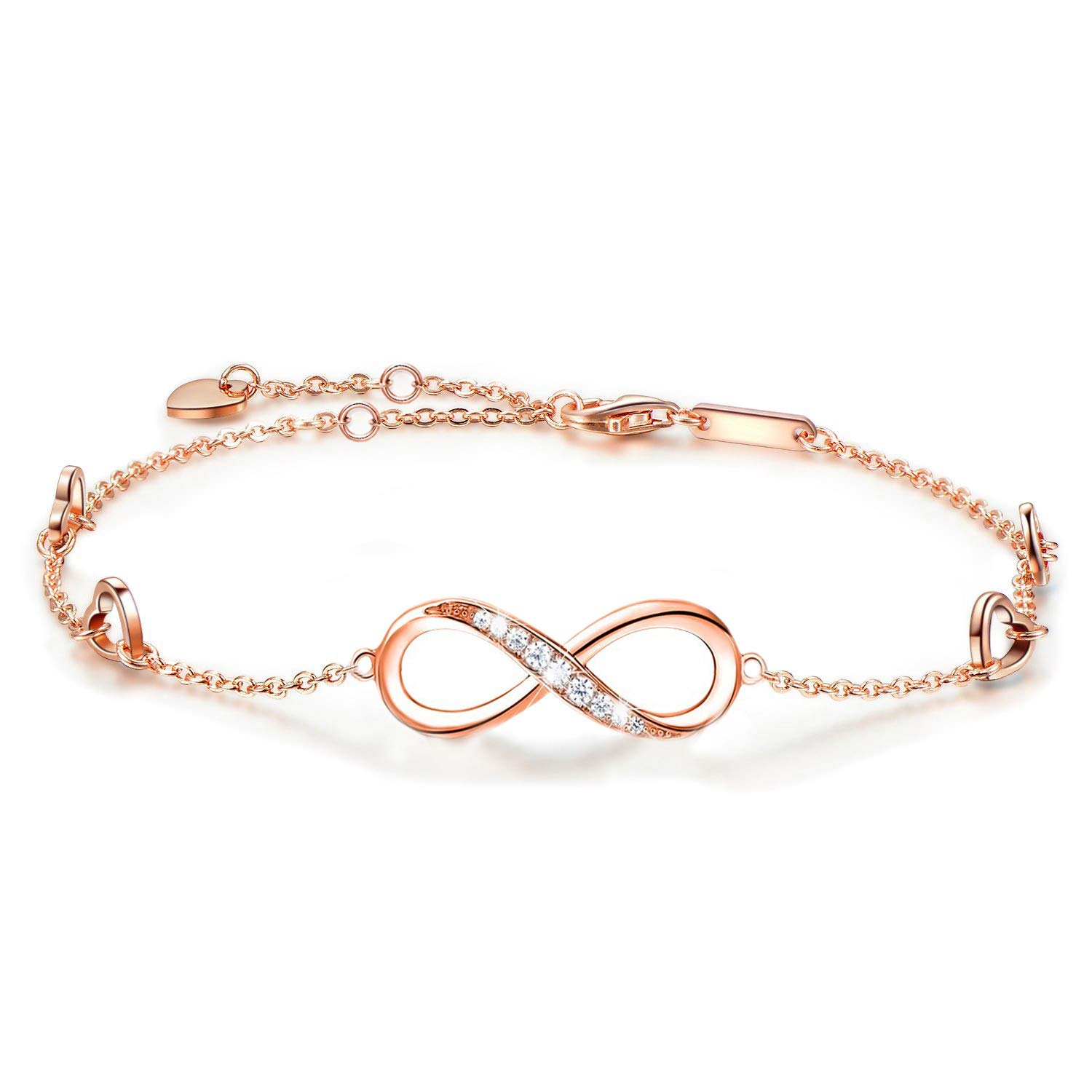 ANGELFLY Anklet Sterling Silver Infinity Heart Endless Love Symbol Charm Foot Rose Gold Adjustable Anklets Ankle Bracelets for Women Gift for Mother's Day (Rose Gold Infinity Anklets)