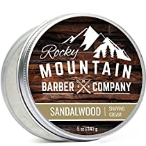 Shaving Cream for Men - Canadian Made With Sandalwood Essential Oil - Hydrating, Rich & Thick Lather for All Skin Types by Rocky Mountain Barber Company - 5 Ounce Tin