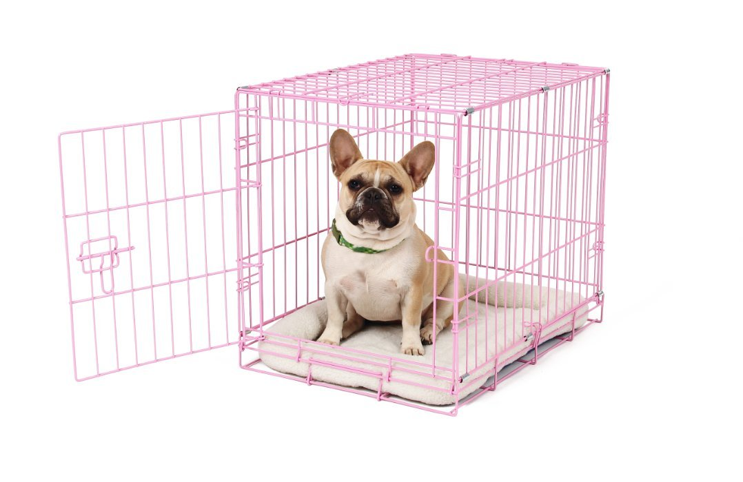 Carlson Pink Secure and Compact Single Door Metal Dog Crate, Small by Carlson Pet Products