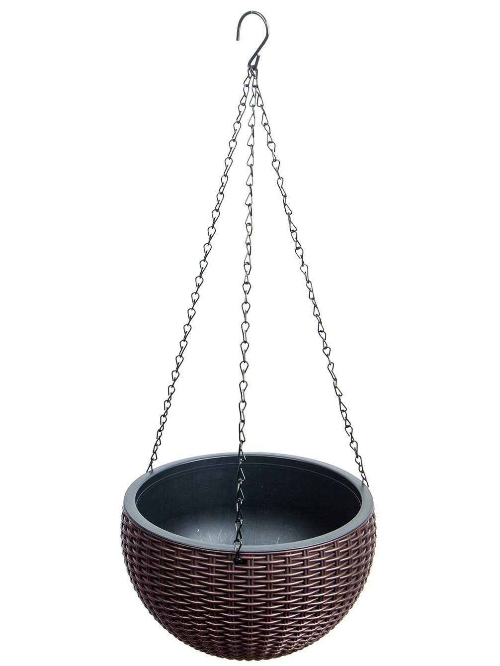 Foraineam 10.2 Inches Round Basket Hanging Planter Dual-pots Design Garden Flower Plant Pots Hanging Planter Baskets with Drainer and Chain for Indoor Outdoor Use