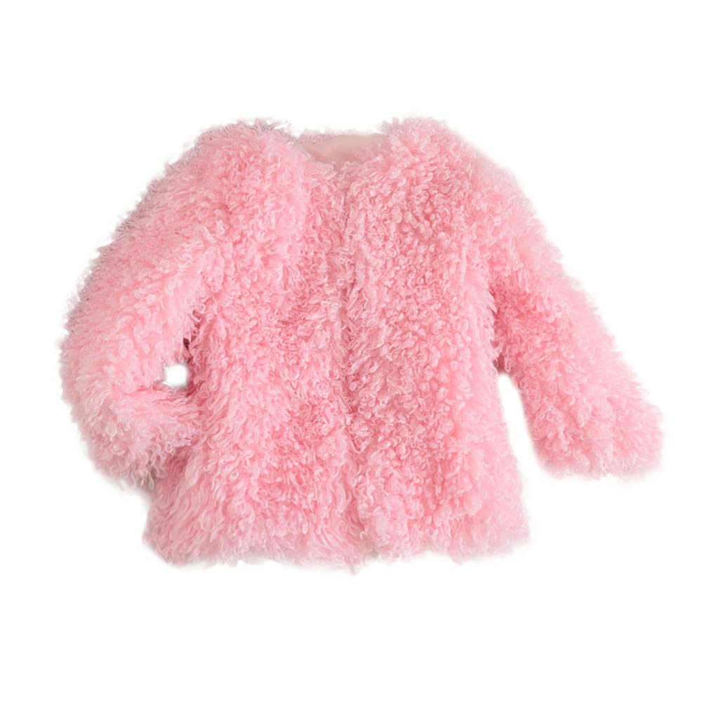 Dolwins Toddler Baby Girls Warm Fleece Coat Fur Hoodie Winter Cotton Jacket Clothes