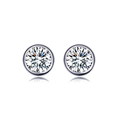 fba072f1c Amazon.com: UMODE Jewelry Bezel Set Earrings 2x1ct Round Clear Cubic ...
