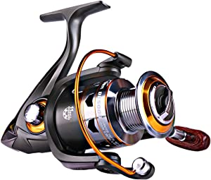 Sougayilang Spinning Fishing Reels with Left/Right Interchangeable Collapsible Wood Handle Powerful Metal Body 5.2:1/5.1:1 Gear Ratio Smooth 11BB for Inshore Boat Rock Freshwater Saltwater Fishing