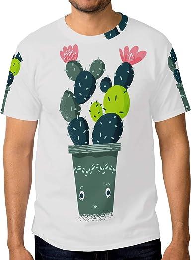 FAJRO Lush Cactus - Camiseta de Manga Corta para Hombre ...