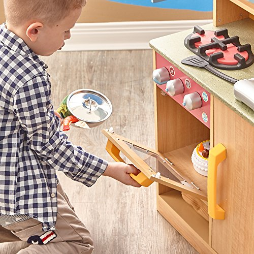 Teamson Kids – Little Chef Wooden Toy Play Kitchen with Accessories – Burlywood