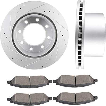 1999-2004 Ford F-350 Super Duty 1999-2004 Ford F-250 Super Duty ECCPP 2pcs Front Discs Brake Rotors and 4pcs Ceramic Disc Brake Pads Fit for 2000-2005 Ford Excursion