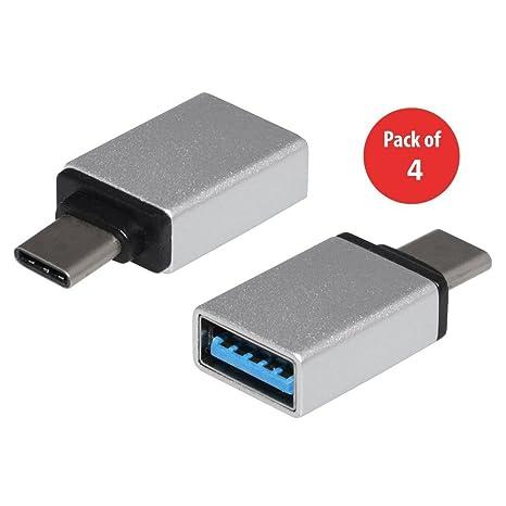 USB tipo C adaptador 4 unidades, aluminio USB C a Micro USB ...
