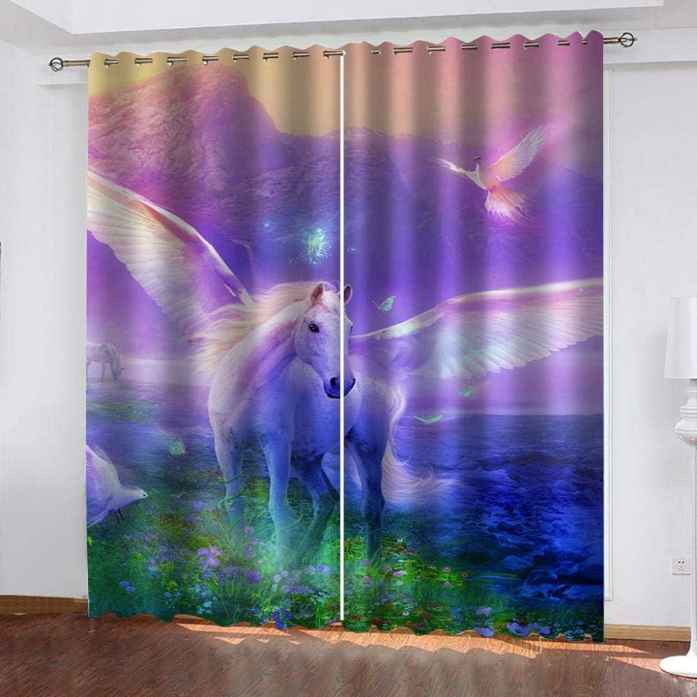 BCDJYFL Verdunkelungsvorh/änge 3D Fantasie Pegasus Energiesparen L/ärm Reduzieren Behandlung F/ür Schlafzimmer Wohnzimmer Kinderzimmer Vorh/änge.150X166Cm Breite X H/öhe