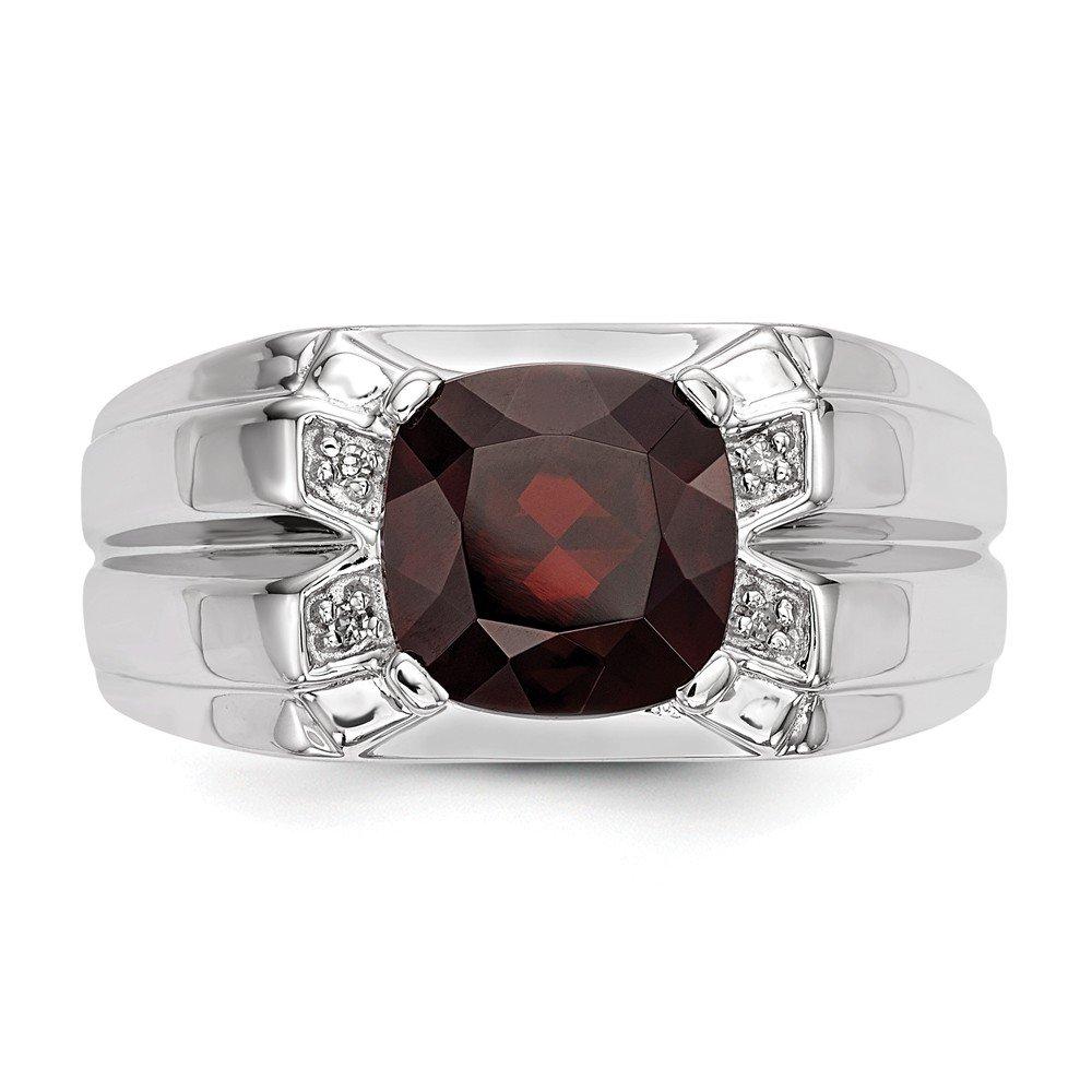 White Night Steling Silver Garnet /& Diamond Square Mens Ring