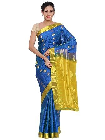 7b95eae346 CLASSICATE From the house of The Chennai Silks Women's Kanjivaram Silk Saree  (CCMYSS6373, Skydiver