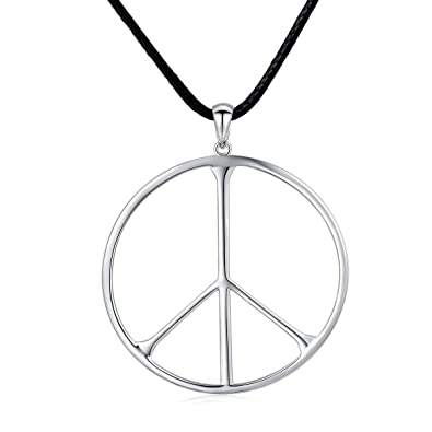 1b062eb6d1a S925 Sterling Silver Classic Large Peace Sign Symbol Unisex Pendant  Necklace for Men Women Jewelry