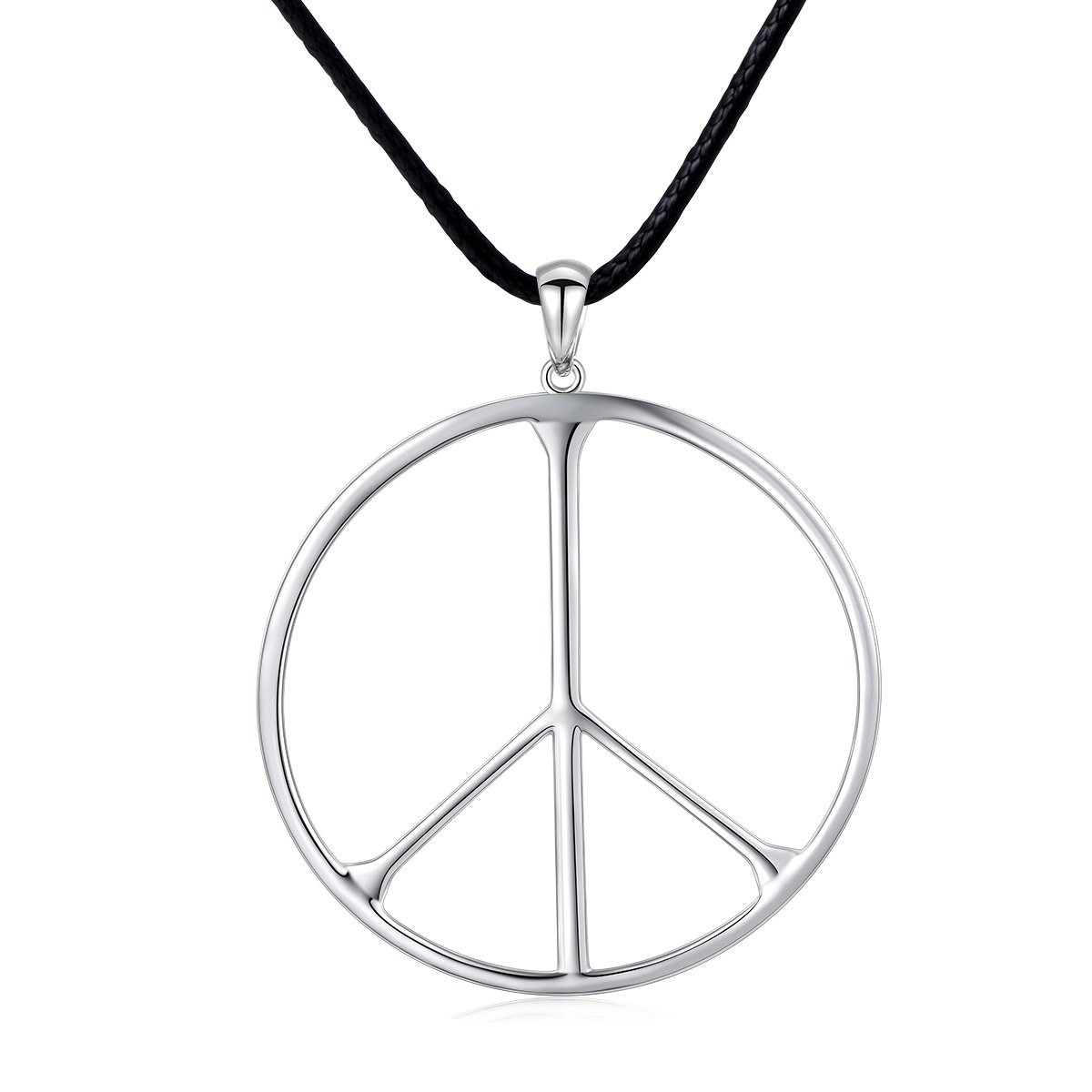 SILVER MOUNTAIN S925 Sterling Silver Classic Large Peace Sign Unisex Pendant Necklace for Men Women