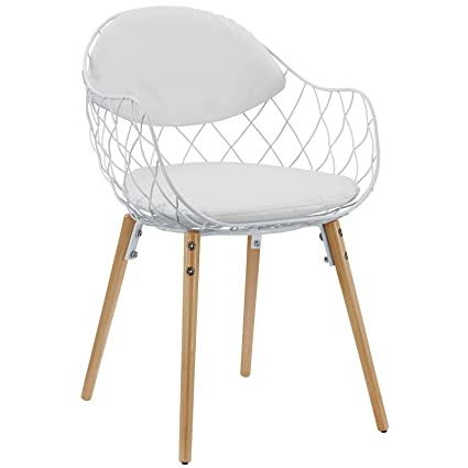 Fantastic Modway Basket Contemporary Modern Wire And Faux Leather Dining Armchair In White White Creativecarmelina Interior Chair Design Creativecarmelinacom