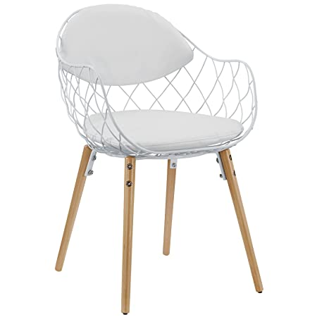 Modway Basket Dining Metal Armchair in White White