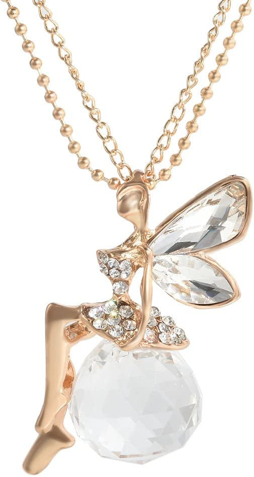Women Fashion Crystal Fairy Angel Wing Pendant Long Chain Sweater Necklace Gift+