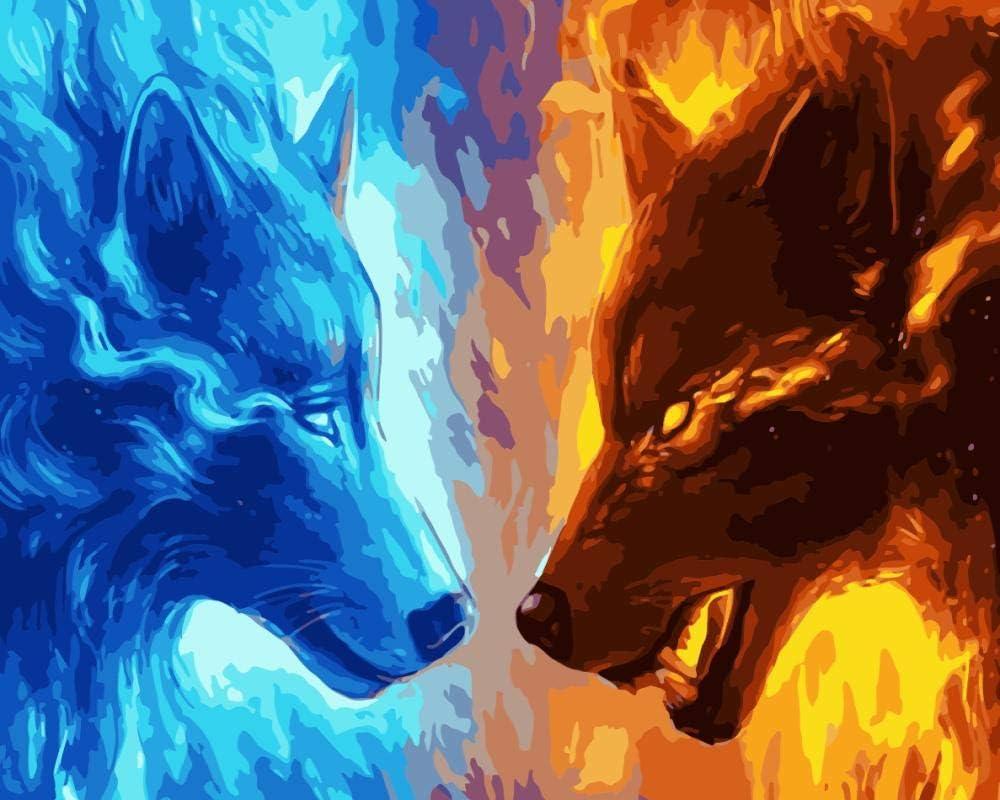 Pintura digital Arte para colorear Pintura decorativa DIY Pintura digital Kit de acrílico Color Caballo León Ganado Golden Retriever Perro Animal Kingdom @D