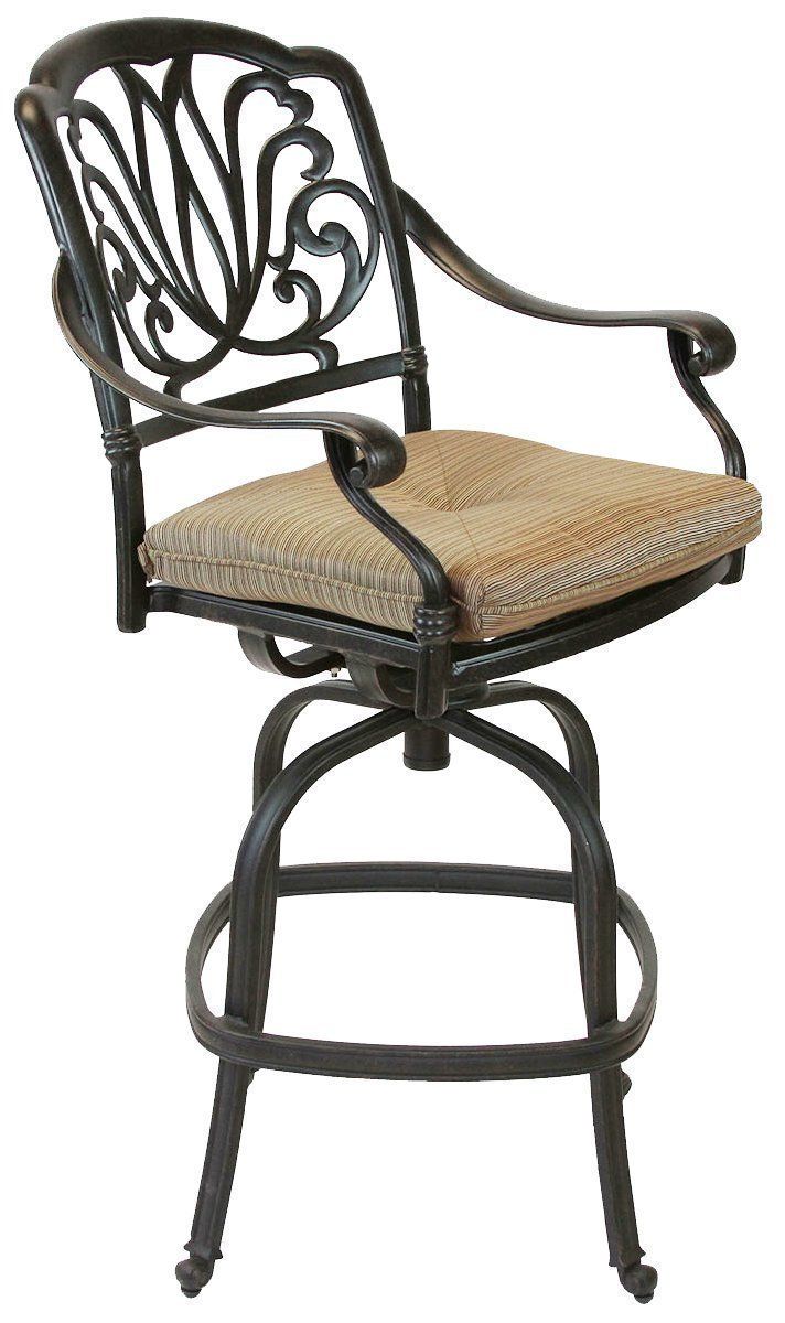 theWorldofpatio Elizabeth Cast Aluminum Powder Coated 4 Swivel Bar Stools 30 with Walnut Seat Cushions- Antique Bronze