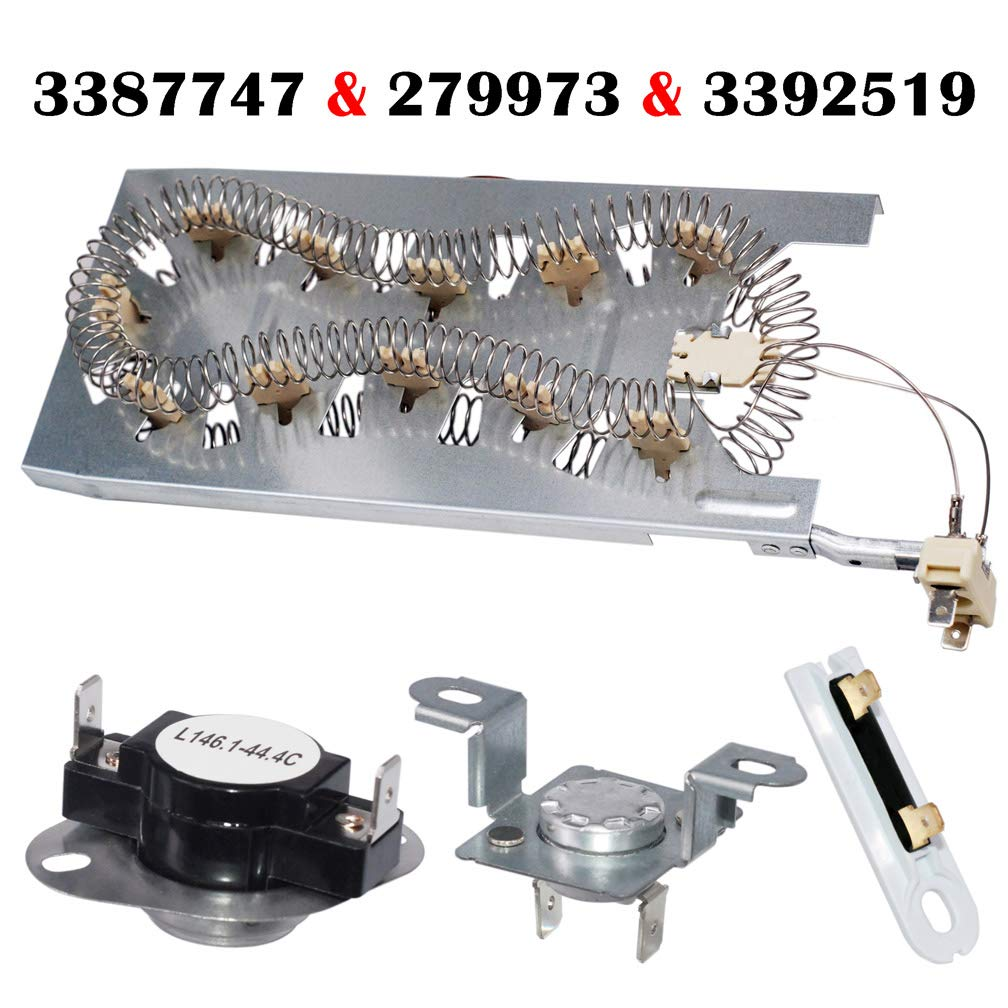 3387747 & 279973 & 3392519 Dryer Heating Element Thermal Cut Off Kit with Thermistor & Thermal Fuse for Whirlpool Kenmore Dryer