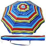 Cheap AMMSUN 6.5 Ft Outdoor Patio Beach Umbrella Sun Shelter with Tilt and Carry Bag UPF 50+ Multicolor Red Blue