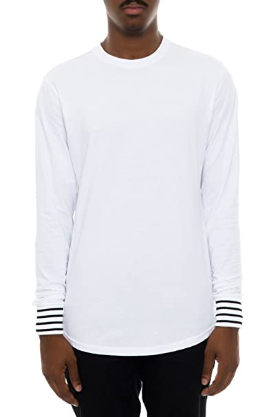 7dea01e1a Smoke Rise Men's Scalloped Longline Side Zippers Long Sleeve T Shirt ...