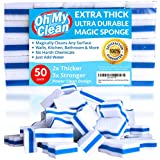 (50 Pack) Extra Durable Magic Cleaning Eraser Sponge - 2x Thick, 3x Stronger Melamine Sponges in Bulk - Multi Surface Power Scrubber Foam Pads - Bathtub, Floor, Baseboard, Bathroom, Wall Cleaner