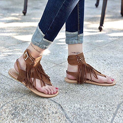 Plates Chaussures 44 35 Chaussures Herringbone Gland Lanière Femmes Chaussures Sandales T Strap Été Marron Sandales Meedot 65qwESO