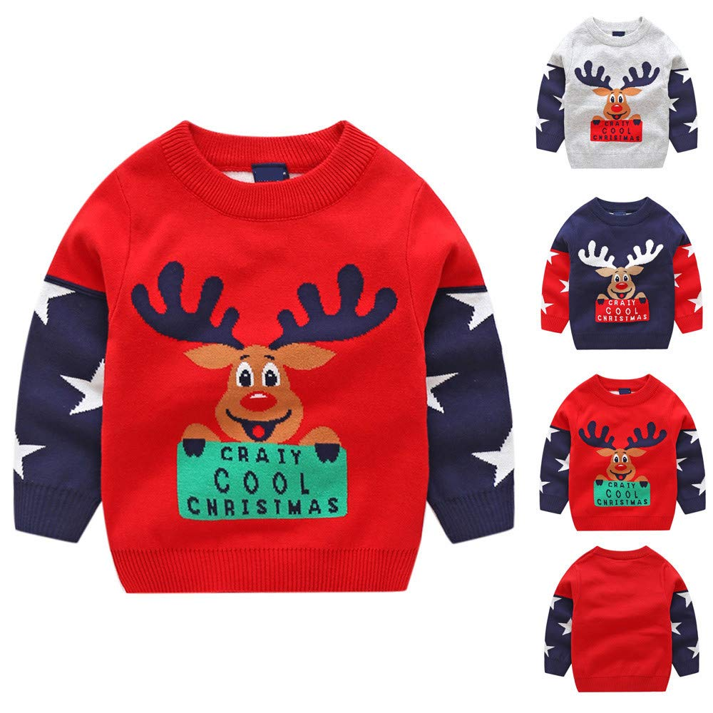 FTXJ Toddler Infant Baby Kids Girls Christmas Xmas Deer Knitted Tops Sweater Outfits