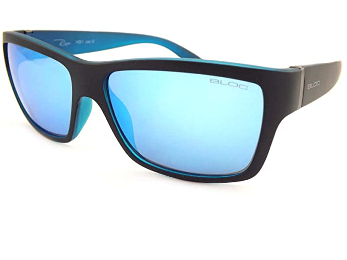 Bloc Riser Sunglasses Matte Black With Blue Mirror Lens XB1