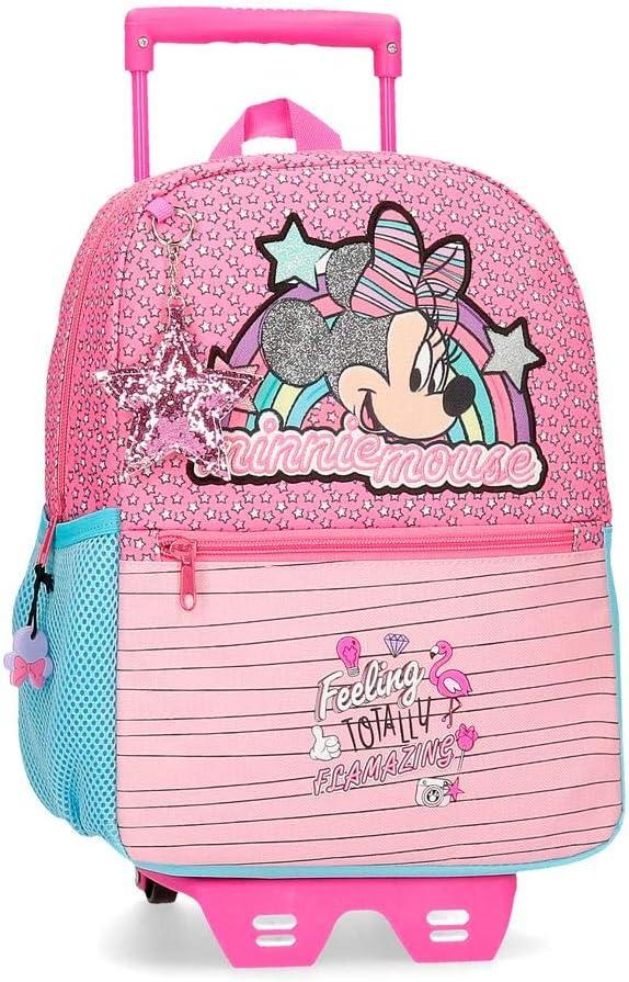 Disney Mochila Minnie Pink Vibes 32 cm con Carro, Rosa