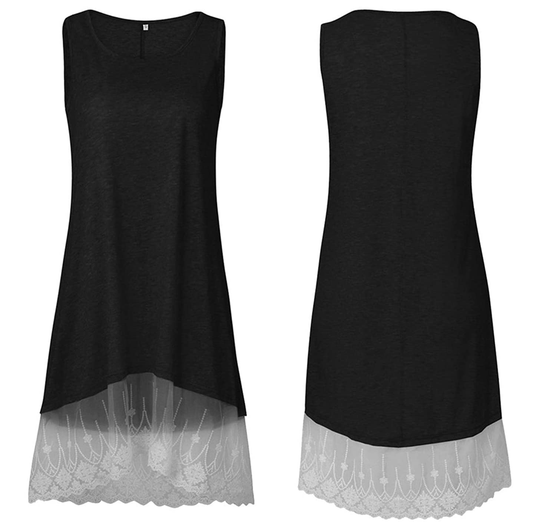 Lananas 2018 Women Summer Sleeveless White Lace Hem Patchwork Slim Fit Mini Short Black Swing Dress at Amazon Womens Clothing store: