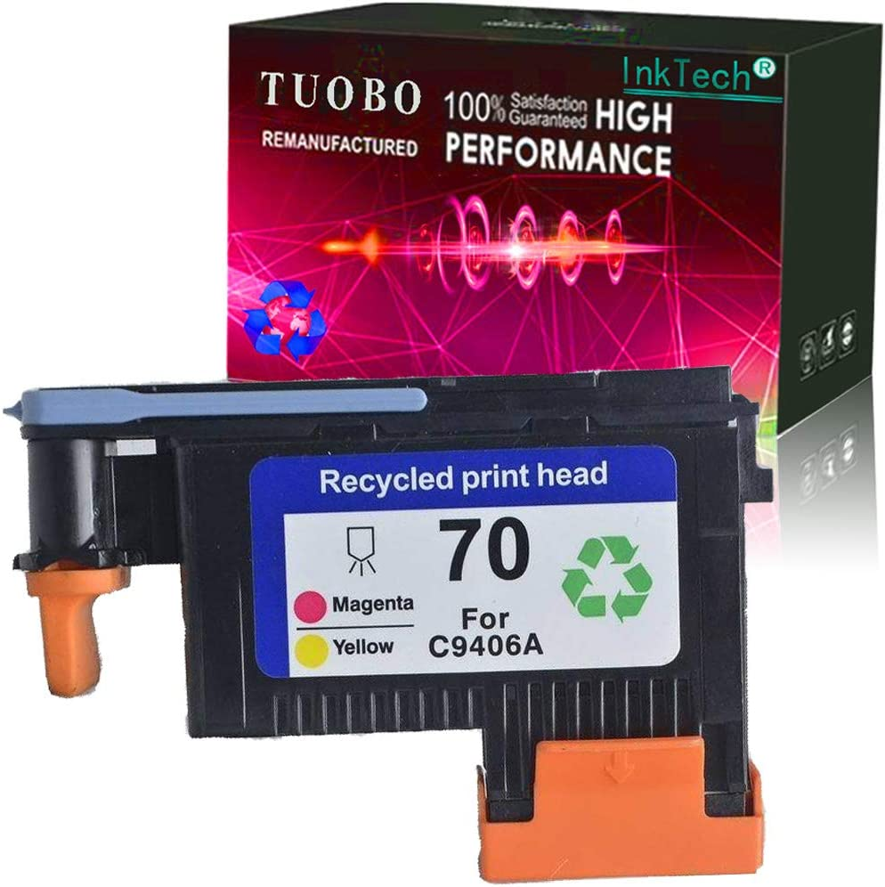 Tuobo Remanufactured H-P 70 Print Head for H-P 70 C9406A Compatible for H-P Designjet Z2100 Z5200 Z3200 Z3100 Printer(Magenta/Yellow)