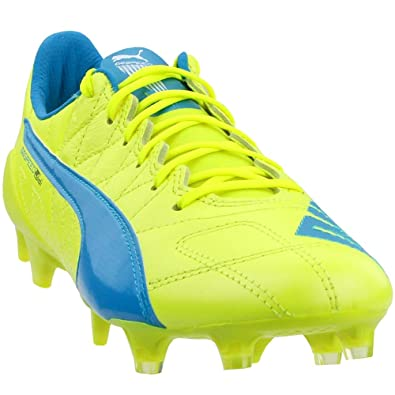 783195da5 Puma Mens Evospeed Sl Lth FG Shoes, Safety Yellow-Atomic Blue-White Size