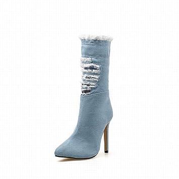 710a9fbec GSAYDNEE Botas Vaqueras de Moda con Cremallera Lateral con Cremallera  Lateral. (Color   Blue