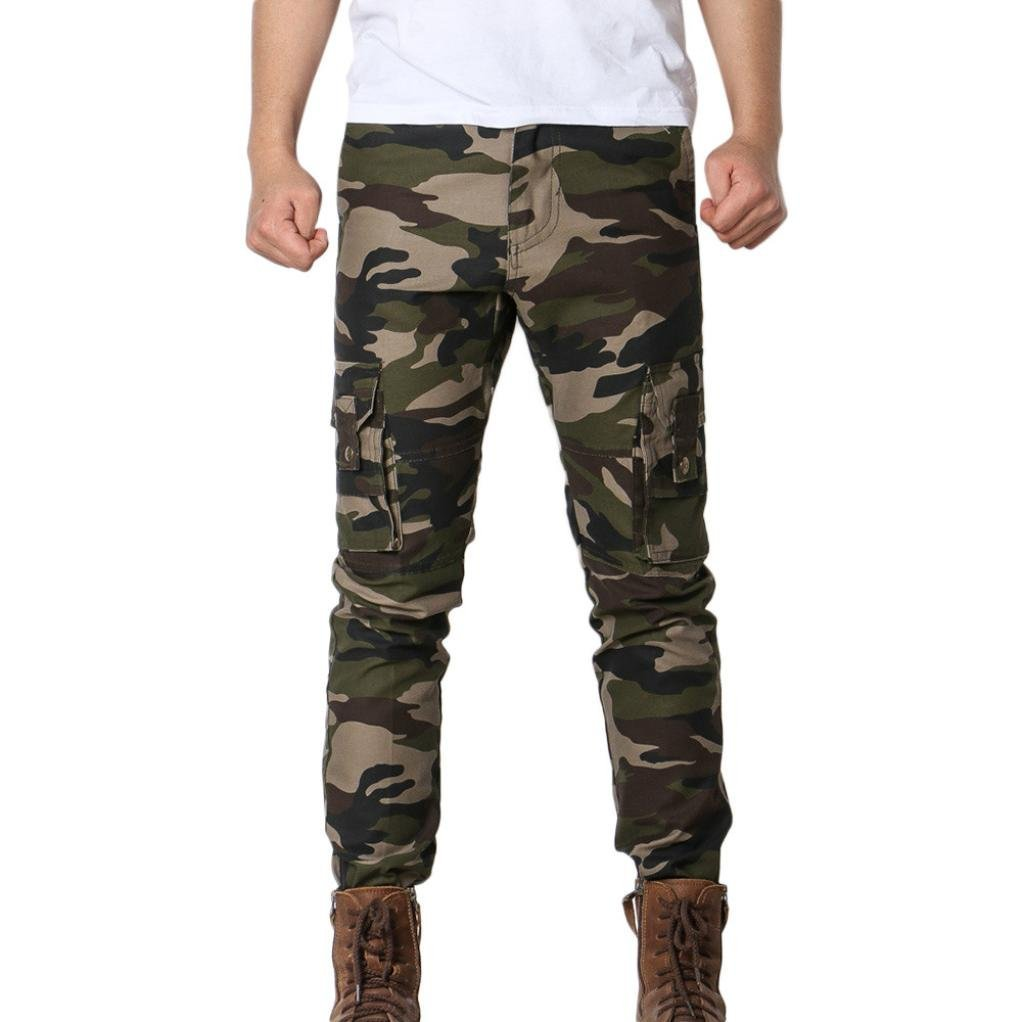 OWMEOT Men's Cotton Casual Military Army Cargo Camo Combat Work Pants (Army Green, 34)