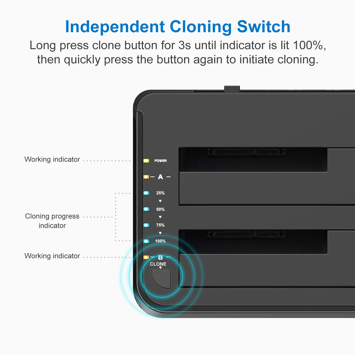 Support 2x 8TB and UASP FD2002C Inateck USB C 3.1 to SATA Dual-Bay Hard Drive Type C Docking Station with Offline Clone Function for 2.5 // 3.5 Inch HDD SSD SATA III with 12V//3A Power Adapter