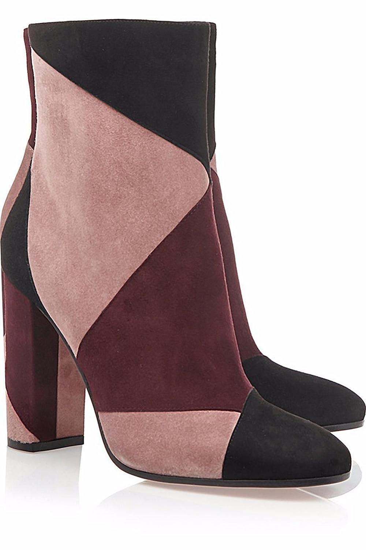 Damen Knöchel Kurz Stiefel Grob Hoch Ferse Schuhe Spitz Wildleder Kampf Farbe Frühling Herbst Winter