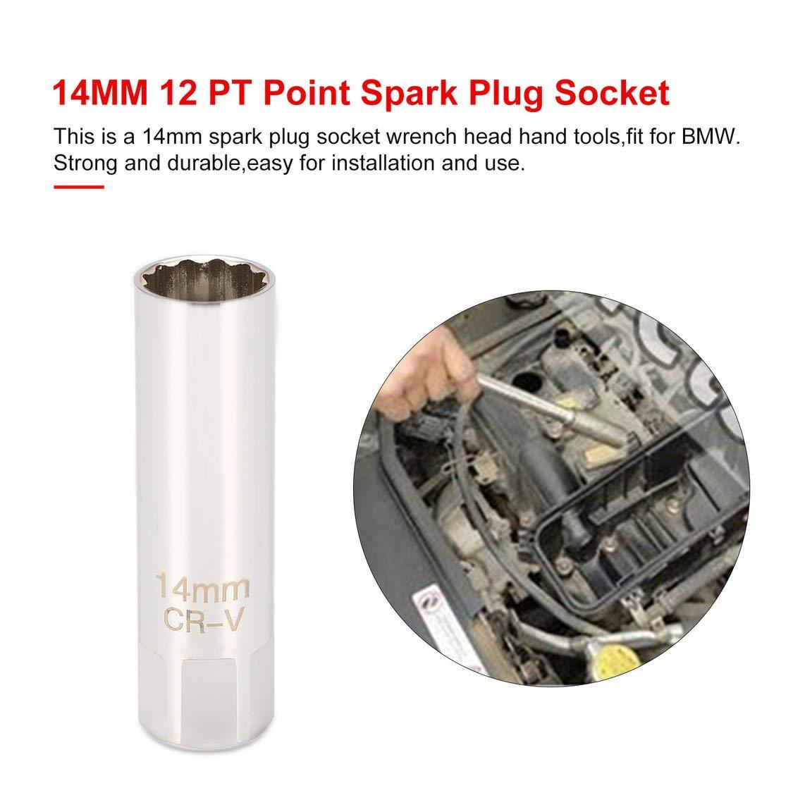 Vige 14 MM 12 PT Point Remover Wrench Mini Z/ündkerzenschl/üssel Kopf Handwerkzeuge D/ünne Wand 3//8Antrieb F/ür BMW X6 Auto Repair Tool