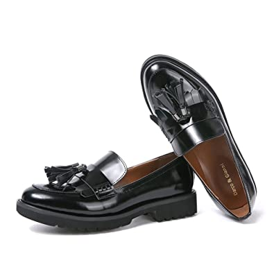 a4c630b4216a3 Womens Loafer Flat Shoes Ladies Leather Work Pump School Shoe Classic  Fringe Tassel Casual Round Toe