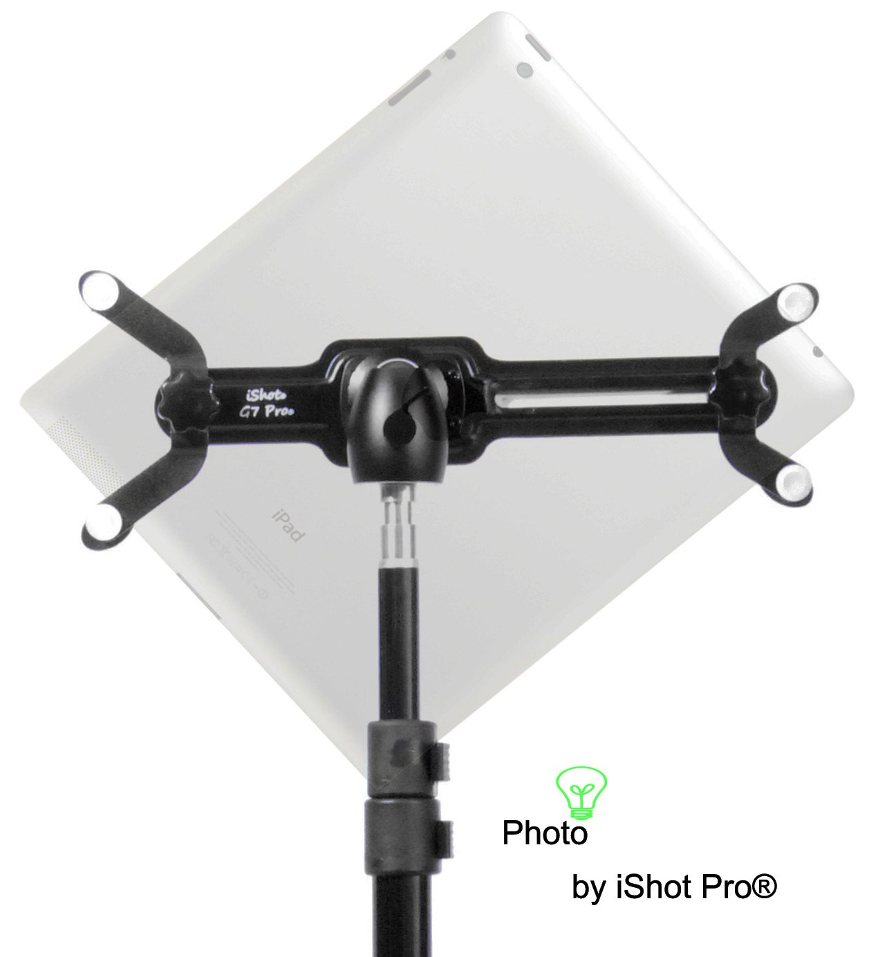 iPad 2, 3, 4 & iPad Air / Air 2 Tripod Mount Adapter Holder G7 Pro® by iShot Pro® Mounts AND Free Medium Ball Head: Long Lasting Sturdy Aluminum Metal Frame - 1/4 20 Pro Medium Ball Head Included - Retrofits Light Stands, Music Stands, Tripods and Other by iShot Pro
