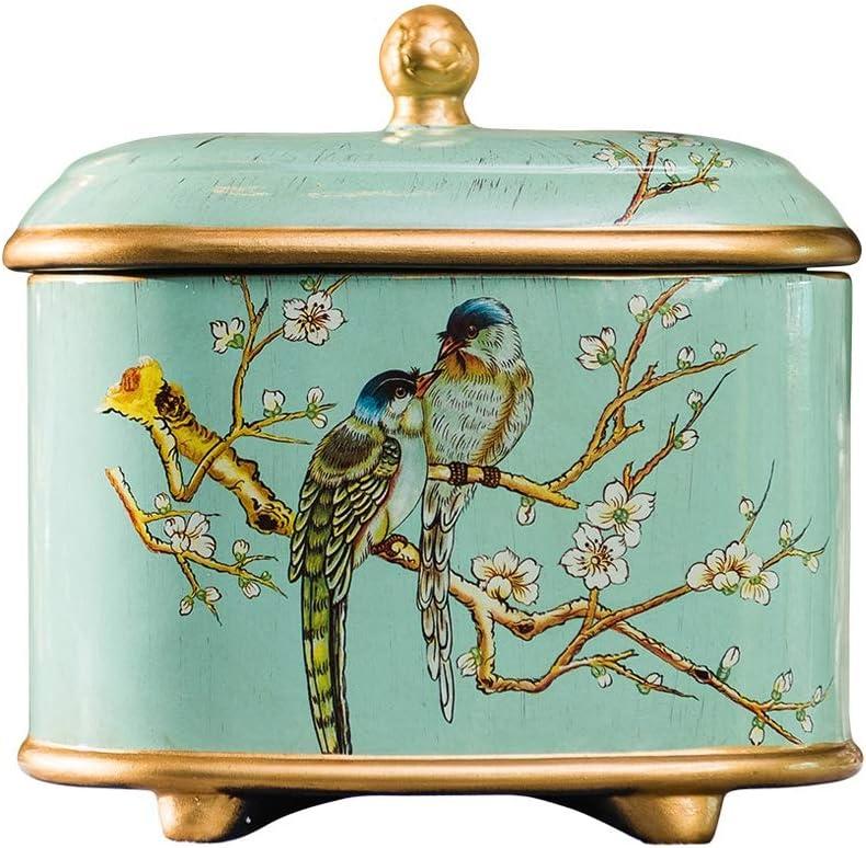 LINGS Urnas funerarias de cerámica para Cenizas humanas o Cenizas de Mascotas, Urna funeraria Conmemorativa, Patrón de Flores y pájaros Dibujados a Mano,Verde