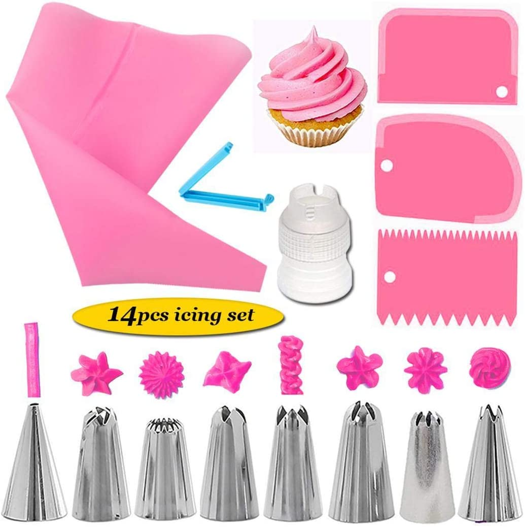 Salver 14Pcs Cake Decorating Supplies Kit Kitchen Dessert Baking Pastry Supplies Candy Making Molds